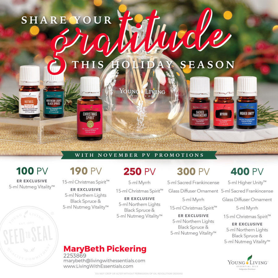 Share Your Gratitude this Holiday Season - with the Young Living November 2018 PV Promo!